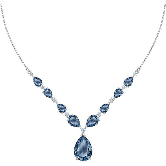 Swarovski Vintage Necklace, Blue, Rhodium Plated 5472614