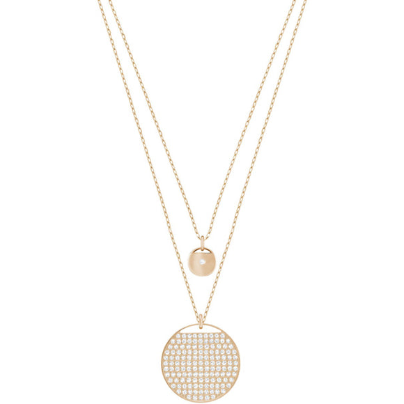 Swarovski Ginger Layered Pendant, White, Rose Gold Plating 5253286
