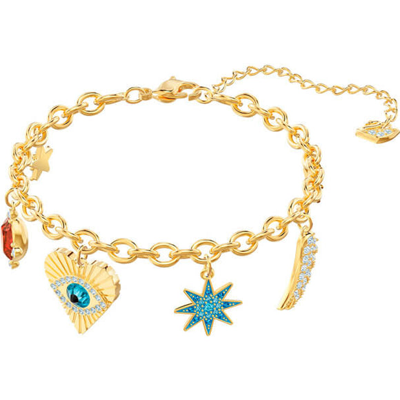 Swarovski Lucky Goddess Charms Bracelet, Multi-colored, Gold Plating 5461796