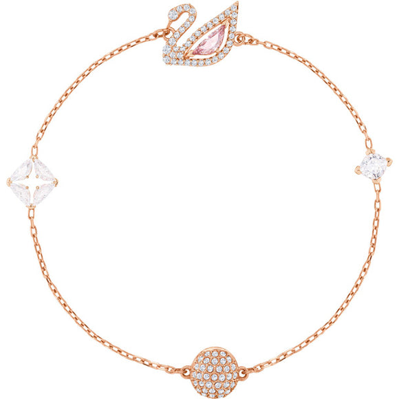 Swarovski Dazzling Swan Bracelet, Multi-colored, Rose Gold Plating 5472271