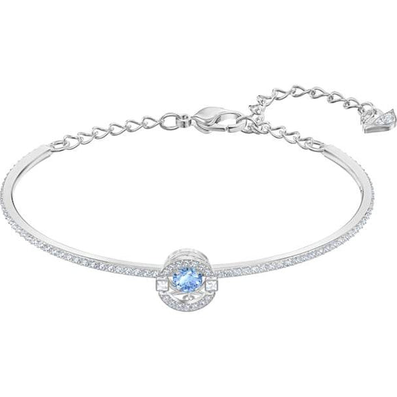 Swarovski Sparkling Dance Bangle, Blue, Rhodium Plated 5515385