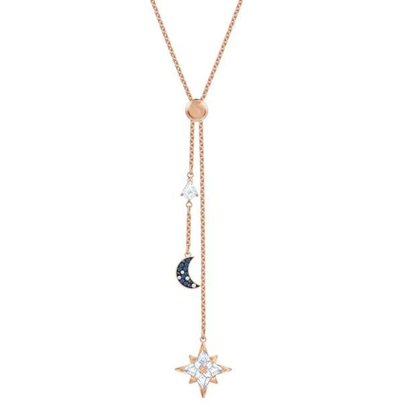 Swarovski Symbolic Y Necklace, Multi-colored, Rose-gold Tone Plated 5494357