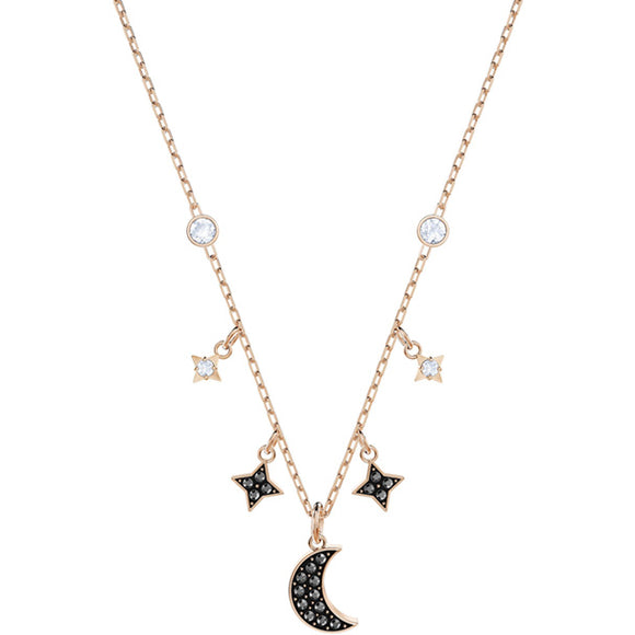 Swarovski Duo Moon Necklace, Black, Rose Gold Plating 5429737