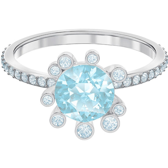Swarovski Olive Ring, Aqua, Rhodium Plating 5479929