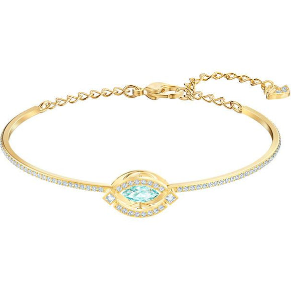 Swarovski Sparkling Dance Bangle, Green, Gold-tone Plated 5497476