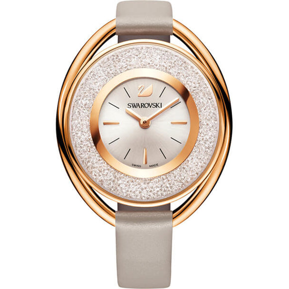 Swarovski Crystalline Oval Watch, Leather Strap, Gray, Rose Gold Tone 5158544