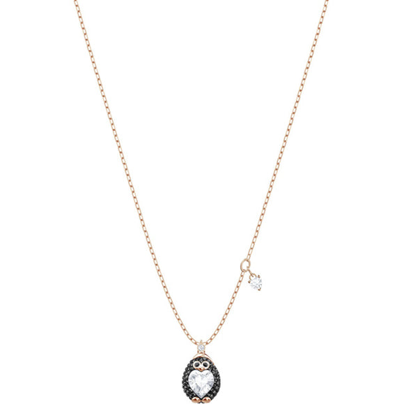 Swarovski Little Penguin Pendant, Multi-colored, Rose Gold Plating 5412367