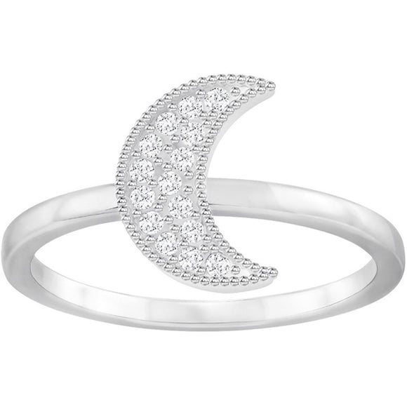 Swarovski Field Moon Ring, White, Rhodium Plating 5273148