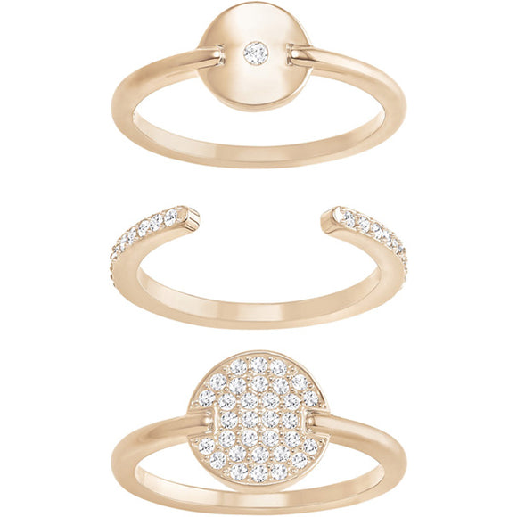 Swarovski Fginger Ring Set, White, Rose Gold Plating  5284081
