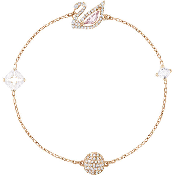 Swarovski Dazzling Swan Bracelet, Multi-colored, Rose Gold Plating 5485877