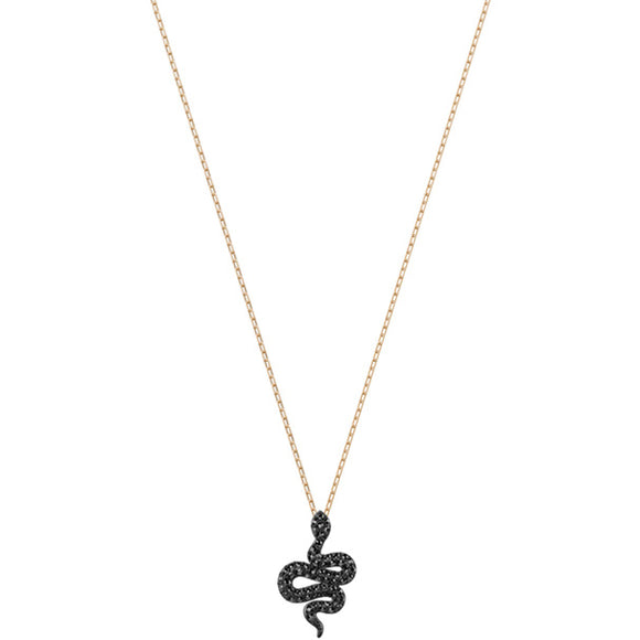 Swarovski Leslie Pendant, Small, Black, Rose Gold Plating 5384396