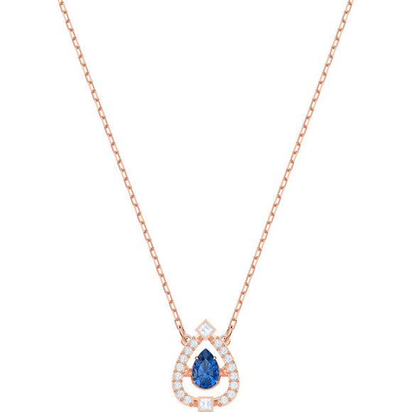 Swarovski Sparkling Dance Pear Necklace, Blue, Rose Gold Plating 5465281