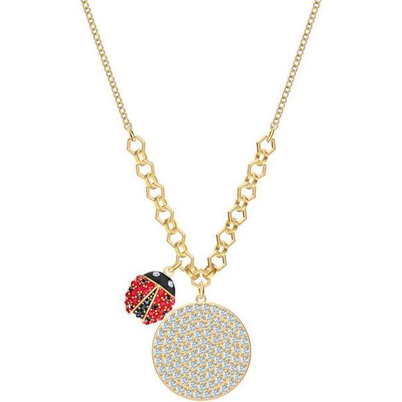 Swarovski Lisabel Coin Necklace, Red, Gold-tone Plated 5498808