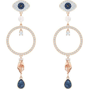 Swarovski Symbolic Hoop Pierced Earrings, Multi-colored, Rose-gold Tone Plated 5500642