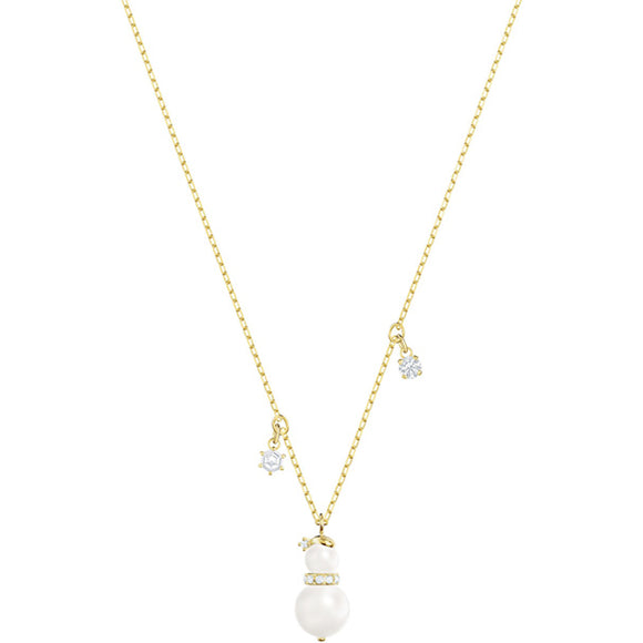 Swarovski Little Snowman Pendant, White, Gold Plating 5410652