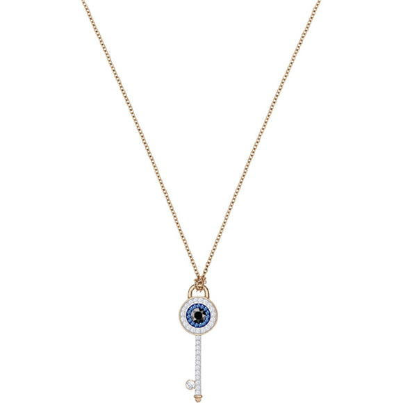 Swarovski Duo Evil Eye Pendant, Multi-colored, Rose Gold Plating 5437517