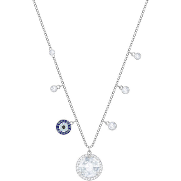 Swarovski Lucy Round Necklace, Blue, Rhodium Plating 5370500