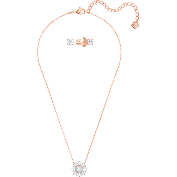 Swarovski Sunshine Set, White, Rose Gold Plating 5480468