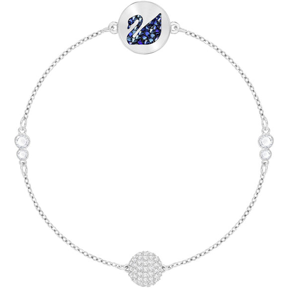 Swarovski Remix Collection Swan Strand, Blue, Rhodium Plating 5375252