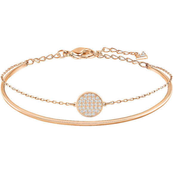 Swarovski Ginger Bangle, White, Rose Gold Plating 5274892