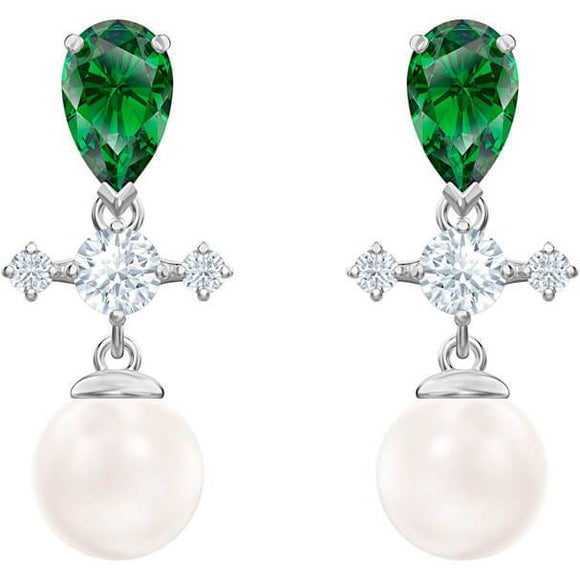 Swarovski Perfection Drop Pierced Earrings, Green, Rhodium Plated 5489440