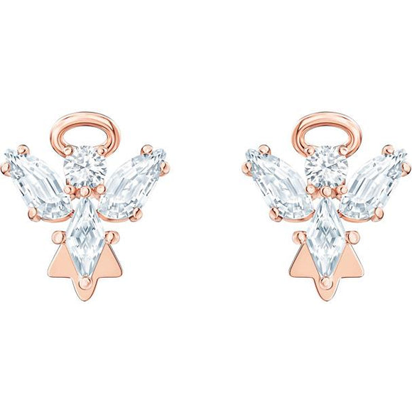 Swarovski Magic Angel Stud Pierced Earrings, White, Rose-gold Tone Plated 5498971