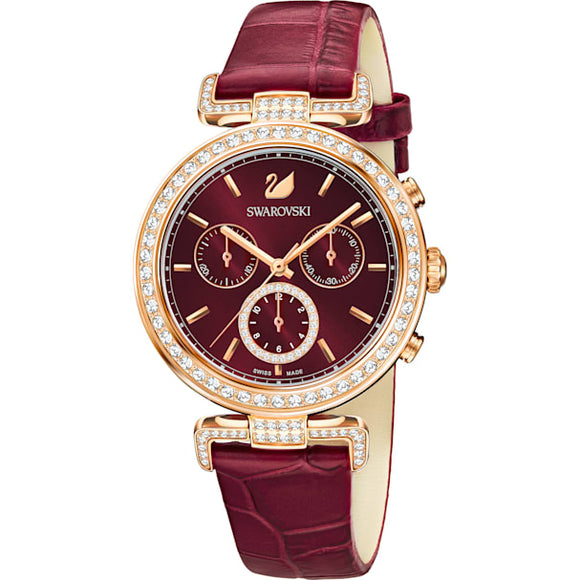 Swarovski Era Journey Watch, Leather Strap, Dark Red, Rose-gold Tone Pvd