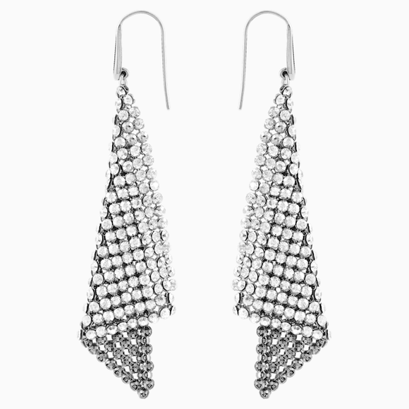 Swarovski Fit Pierced Earrings, Gray, Rhodium plating 976061