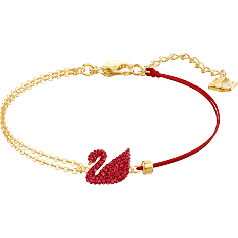 Swarovski Iconic Swan Bracelet, Red, Gold-tone Plated 5465403