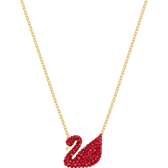 Swarovski Iconic Swan Pendant, Red, Gold-tone Plated 5465400