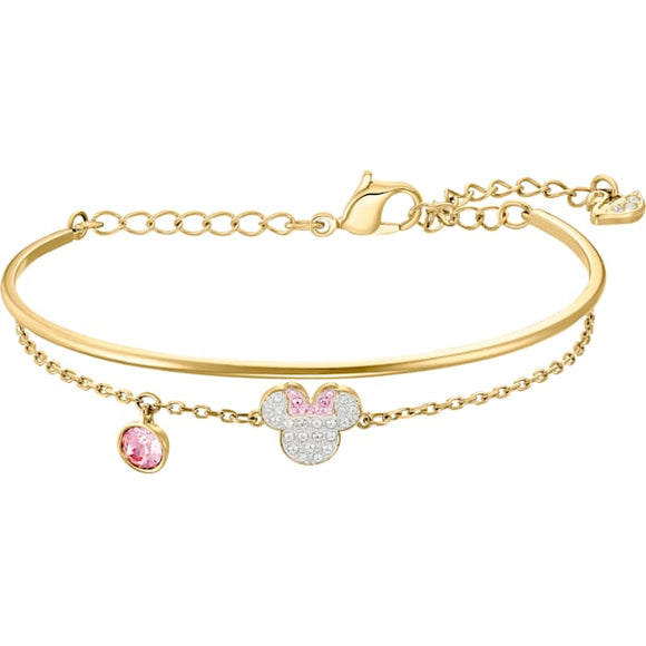 Swarovski Mickey & Minnie Bangle, White, Gold-tone Plated 5515627