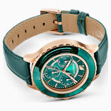 Swarovski Octea Lux Chrono Watch, Leather Strap, Green, Rose-gold tone PVD 5452498