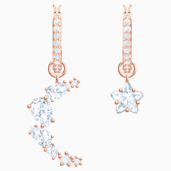Swarovski Penélope Cruz Moonsun Drop Pierced Earrings, White, Rose-gold tone plated 5486354