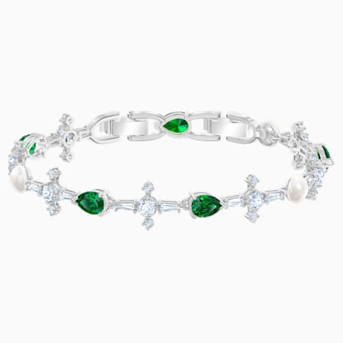 Swarovski Perfection Bracelet, Green, Rhodium Plated 5493102