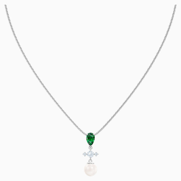 Swarovski Perfection Necklace, Green, Rhodium Plated 5493103