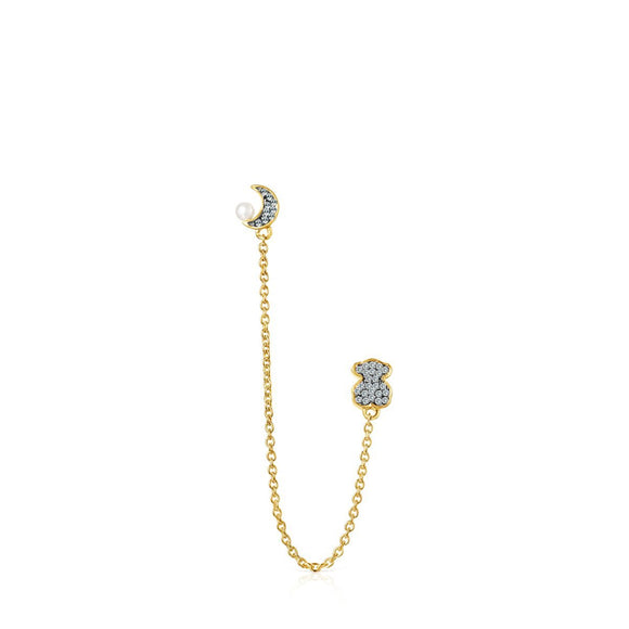 Tous Nocturne double 1/2 Earring in Gold Vermeil with Diamonds and Pearl 918443630