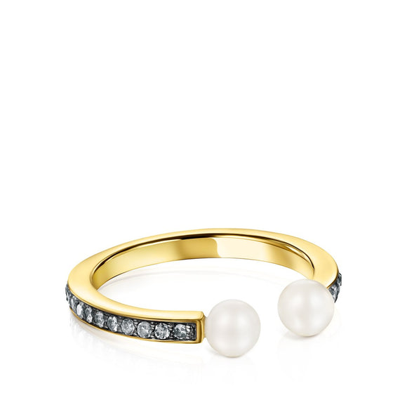 Tous Nocturne Ring in Gold Vermeil with Diamonds and Pearls 918445510