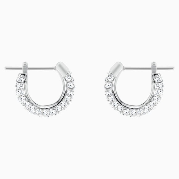 Swarovski Stone Pierced Earrings, Small, White, Rhodium plating 5446004