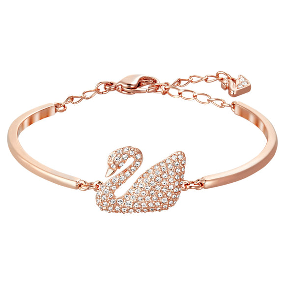 Swan Bangle, White, Rose-gold tone plated  5142752