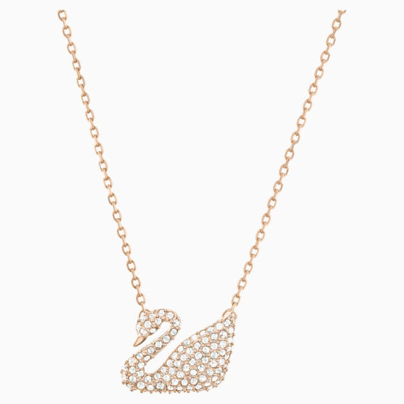 Swarovski Swan Necklace, White, Rose gold plating 5121597