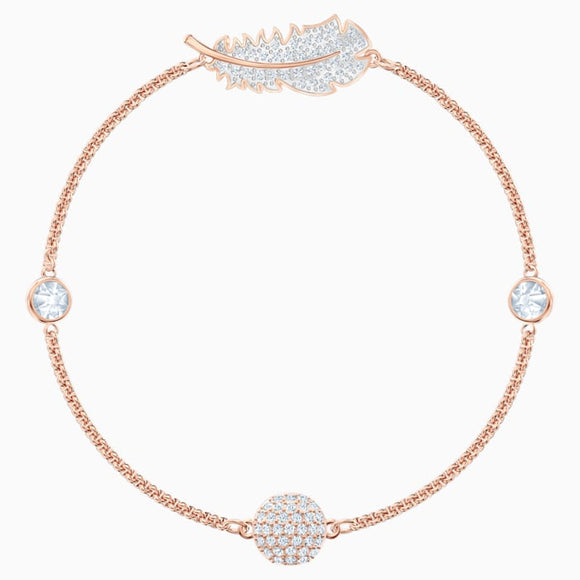 Swarovski Remix Collection Feather Strand, White, Rose-gold tone plated (Medium) 5511003