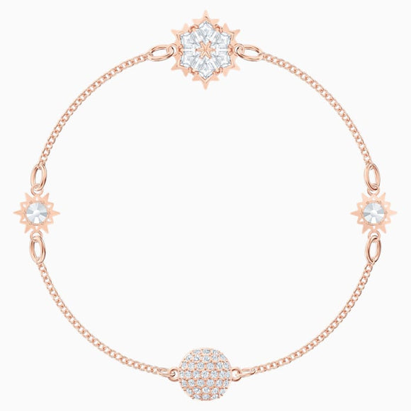 Swarovski Remix Collection Snowflake Strand, White, Rose-gold tone plated (Medium) 5512038