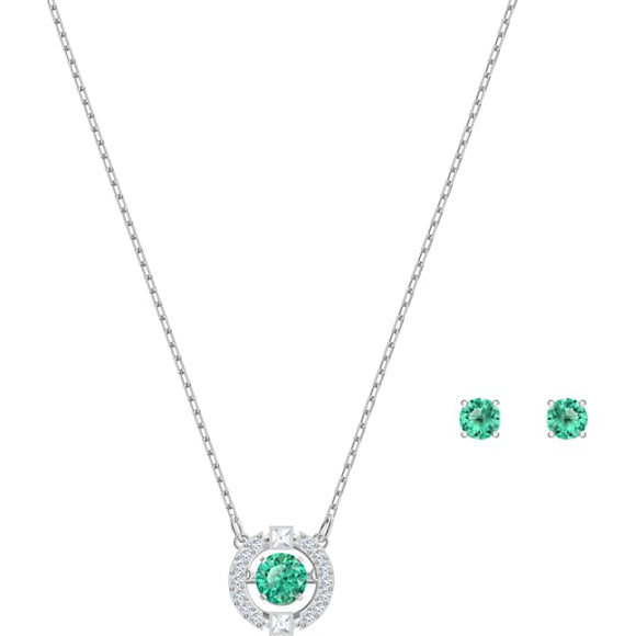 Swarovski Sparkling Dance Set, Green, Rhodium Plated 5516965
