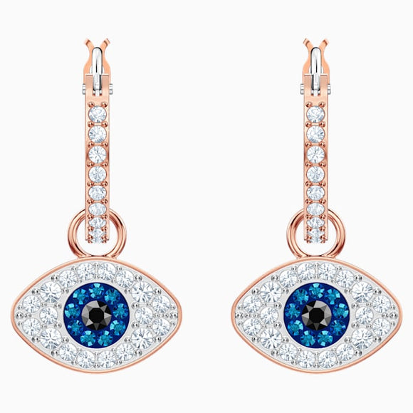 Swarovski Symbolic Evil Eye Hoop Pierced Earrings, Multi-colored, Rose gold plating 5425857