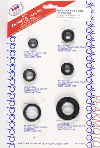 K&S ATV Complete Engine Oil Seal Kit  KLF-220/250 (88-08)  | 50-2042