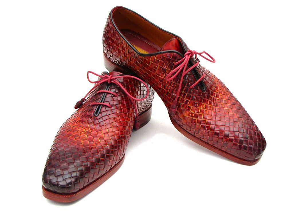 Bordeaux & Tobacco Woven Leather Paul Parkman Oxfords