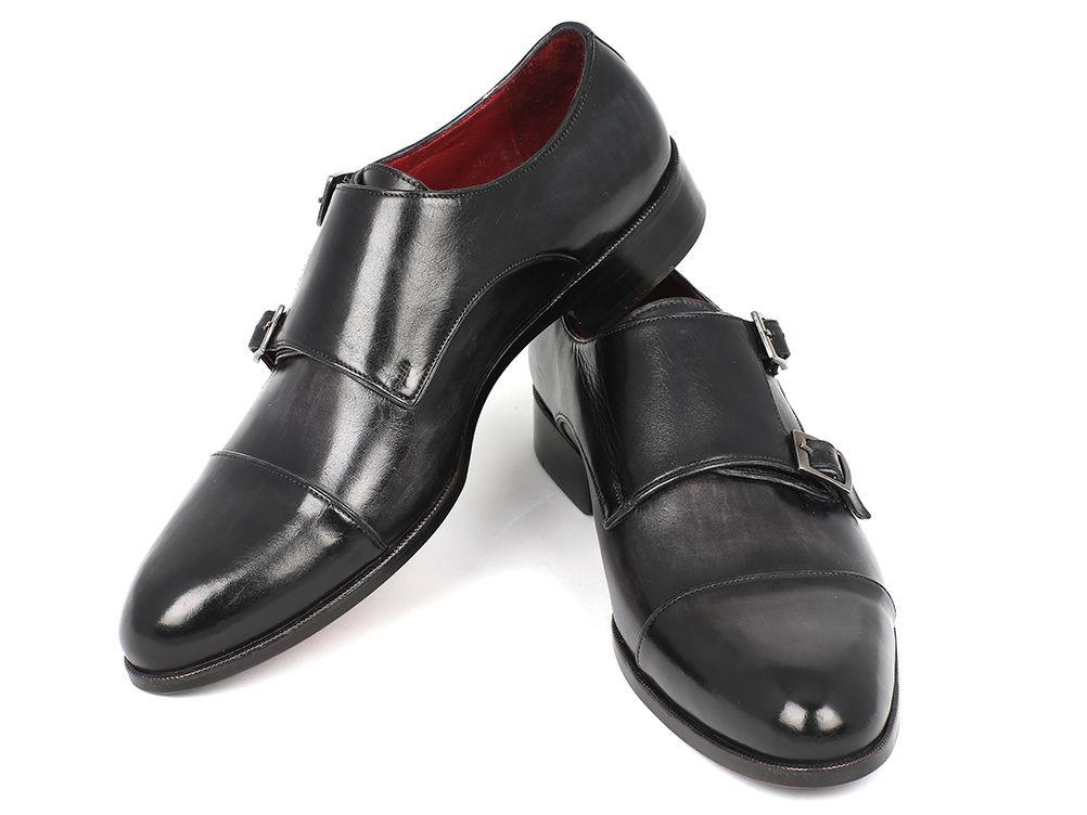 Cap-Toe Paul Parkman Double Monkstraps Gray & Black