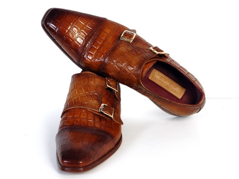 Brown Crocodile Monkstrap Paul Parkman Shoes