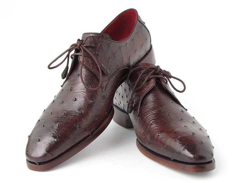 Men's Brown Genuine Ostrich Paul Parkman Derby Shoes