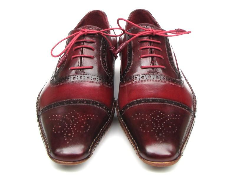 Side Handsewn Captoe Paul Parkman Oxfords - Red / Bordeaux Leather Upper and Leather Sole